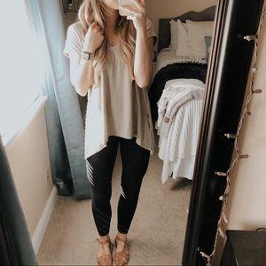 Miami Cream Asymmetrical Knit Short Sleeve Top